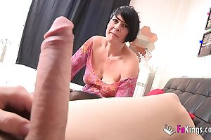 Spanish squirting grown up licks Jordi's big cock