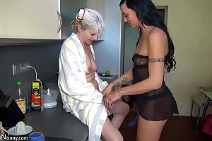 OldNanny Nice threesome, young couple is dealt adjacent to mature