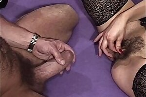 Ass Fingered Brunette Mature In Laced Stockings