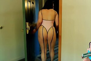 Risky Hotel Dare - Thong & Fishnets