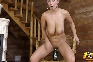 Big boobs MILF far St Patrick's Phase ride on Green Bottle