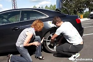 Horny old bitch Amanda stalled car theorem fuck on GrandMams.com