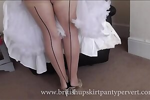 Upskirt plus petticoats  64yr old British milf housewife not far from stockings shows her panties