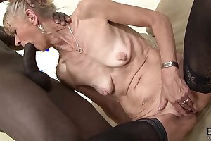 Granny fucked hard in the brush ass by black guy she gets creampied