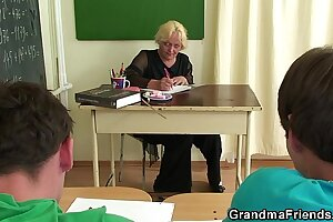 Very elderly teacher is pounded off out of one's mind several boys