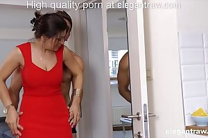 First and foremost brunette MILF is fucked in the morning by her lover