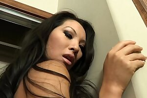 Horny dude gets a BJ in advance banging  two hot babes Asa Akira and Dana Vespoli upstairs the couch