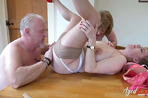 AgedLovE Two Matures and Handy Alms-man down Threesome