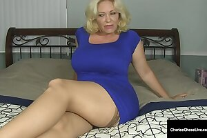 Blonde Mommy Charlee Chase Vibrates Her Moist Mature Muff!