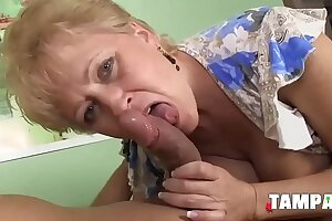 Mature Blonde Giving a Magnificent Blowjob